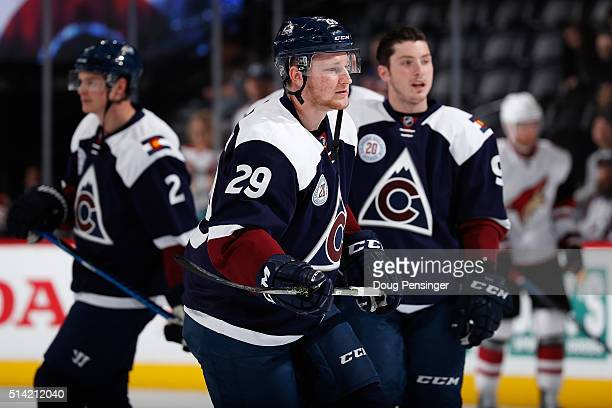 Nick Holden Nathan MacKinnon and Matt Duchene of the Colorado Avalanche warm up prior to facing the Arizona Coyotes at Pepsi Center on March 7 2016...
