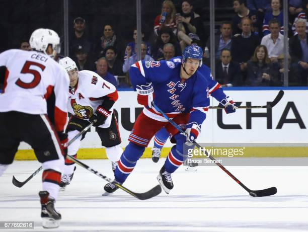 Nick Holden of the New York Rangers skates against the Ottawa Senators in Game Three of the Eastern Conference Second Round during the 2017 NHL...
