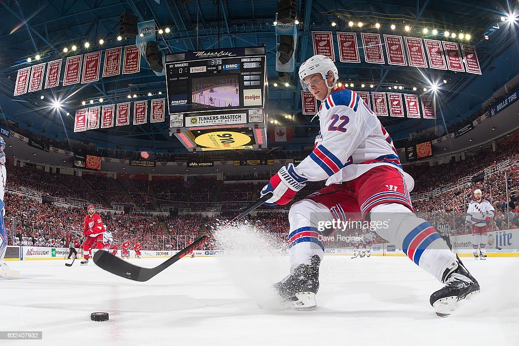 Nick Holden #22 of the New York Rangers skates with the puck behind the net during an NHL game against the Detroit Red Wings at Joe Louis Arena on January 22, 2017 in Detroit, Michigan. The Rangers defeated the Wings 1-0 in overtime.