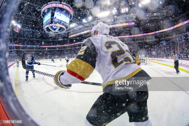 Nick Holden of the Vegas Golden Knights follows the play up the ice during first period action against the Winnipeg Jets at the Bell MTS Place on...