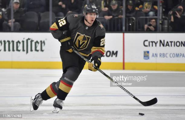 Nick Holden of the Vegas Golden Knights skates during the first period against the Winnipeg Jets at TMobile Arena on February 22 2019 in Las Vegas...