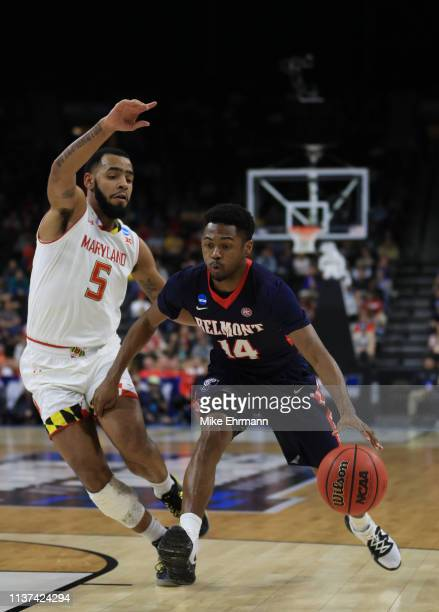 Nick Hopkins of the Belmont Bruins and Eric Ayala of the Maryland Terrapins during the first round of the 2019 NCAA Men's Basketball Tournament at...