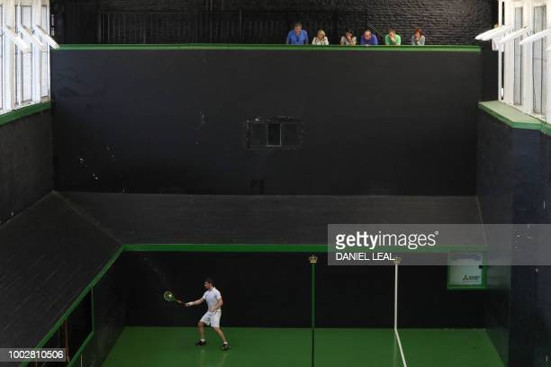 Nick Howell plays in a match at the Real tennis champions Trophy in Hampton Court Palace south west London on July 20 2018 As the dust settles at...