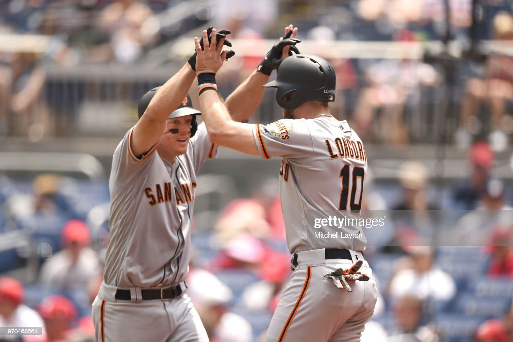 Nick Hundley #5 of the San Francisco Giants celebrates a three run home run with Evan Longoria #10 of the San Francisco Giants in the third inning during a baseball game against the Washington Nationals at Nationals Park on June 9, 2018 in Washington, DC.