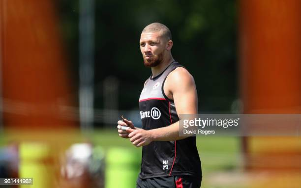 Nick Isiekwe looks on during the Saracens training session held at Old Albanians on May 22 2018 in St Albans England