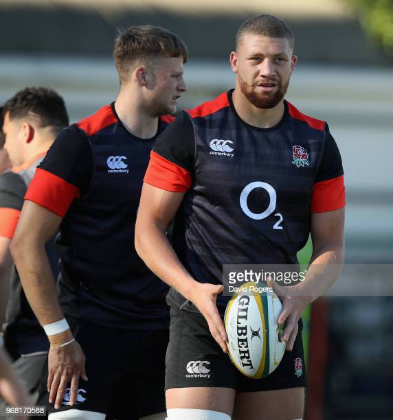 Nick Isiekwe looks on with Jonny Hill during the England training session at Kings Park Stadium on June 6 2018 in Durban South Africa