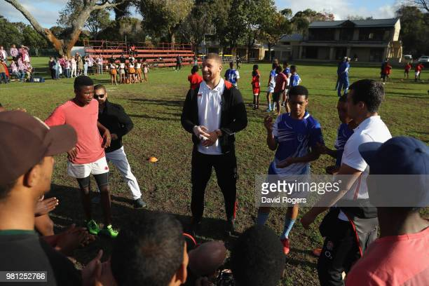 Nick Isiekwe of England issues instructions to young players at the Atlas Foundation coaching clinic held at Rhondebosch Boys High School on June 22...