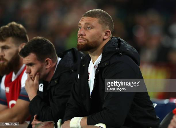 Nick Isiekwe of England looks on from the bench after being replaced in the first half during the first test match between South Africa and England...