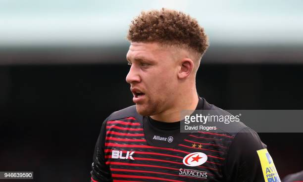 Nick Isiekwe of Saracens looks oni during the Aviva Premiership match between Saracens and Bath Rugby at Allianz Park on April 15 2018 in Barnet...