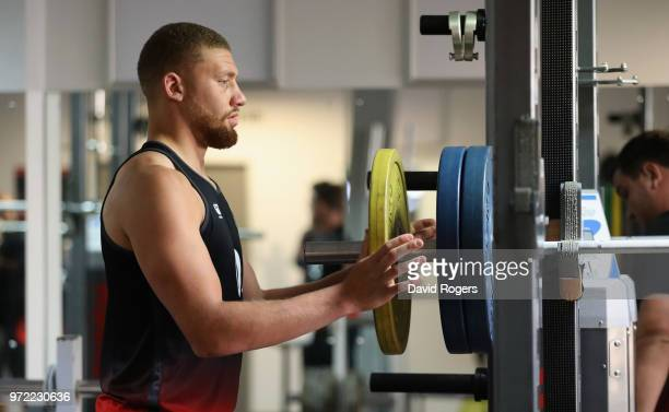 Nick Isiekwe prepares the weights during the England gym session held at Kings Park Stadium on June 12 2018 in Durban South Africa