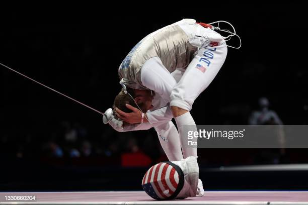 Nick Itkin of Team United States reacts after losing to Kirill Borodachev of Team ROC in Men's Foil Individual third round on day three of the Tokyo...