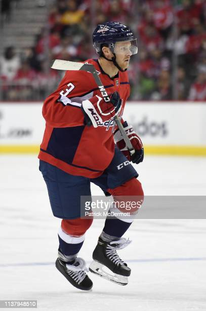 Nick Jensen of the Washington Capitals skates against the Minnesota Wild in the first period at Capital One Arena on March 22 2019 in Washington DC