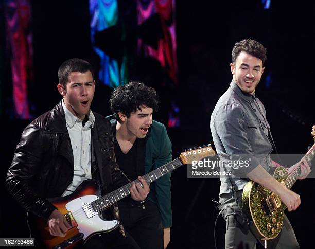 Nick Joe and Kevin Jonas perform at the Quinta Vergara during the 53rd Vina del Mar International Music Festival on February 26 2013 in Vina del Mar...
