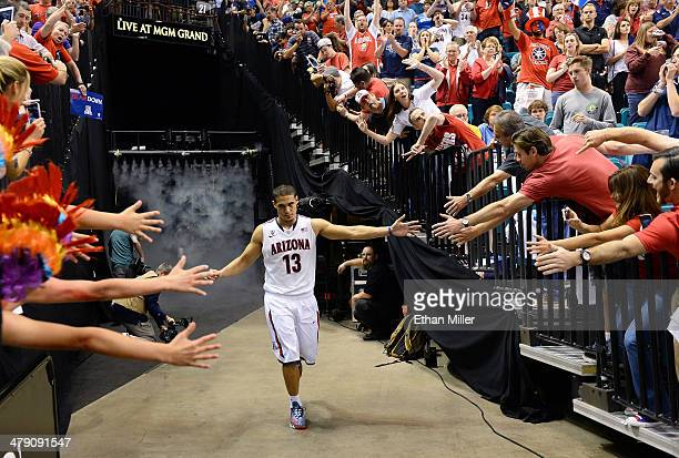 Nick Johnson of the Arizona Wildcats is introduced before the championship game of the Pac-12 Basketball Tournament against the UCLA Bruins at the...