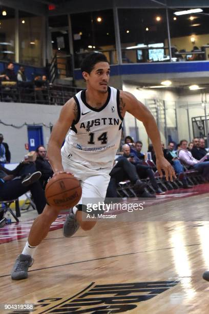 Nick Johnson of the Austin Spurs handles the ball against the Wisconsin Herd shoots the ball against the Austin Spurs during the GLeague Showcase on...