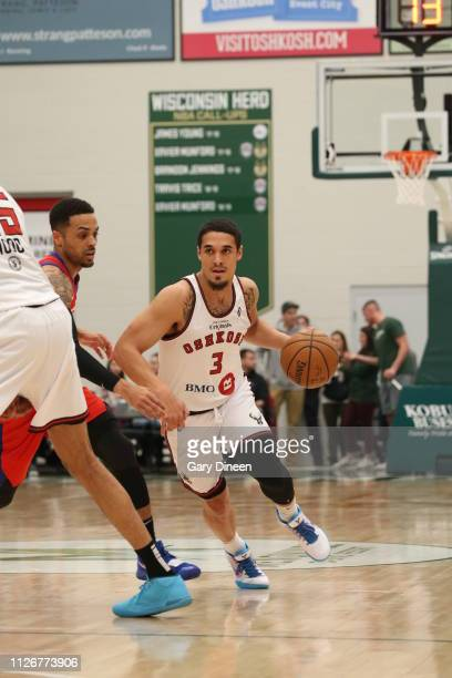 Nick Johnson of the Wisconsin Herd dribbles against Brandon Fields of the Agua Caliente Clippers during the G League game at the Menominee Nation...