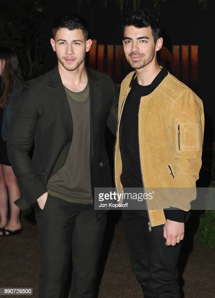 Nick Jonas and brother Joe Jonas attend the Los Angeles Premiere 'Jumanji Welcome To The Jungle' at the TCL Chinese Theatre on December 11 2017 in...