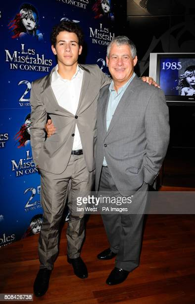 Nick Jonas and Cameron Mackintosh at the after party of the Les Miserables Anniversary performance at the O2 in London