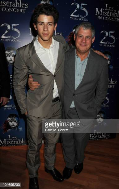 Nick Jonas and Cameron Mackintosh attend the afterparty following the anniversary performance of 'Les Miserables' at The O2 Arena on October 3 2010...