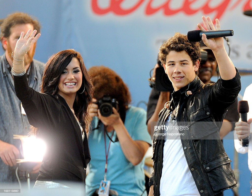 Nick Jonas and Demi Lovato perform on ABC's 'Good Morning America' summer concert series at Rumsey Playfield on May 21, 2010 in New York City.