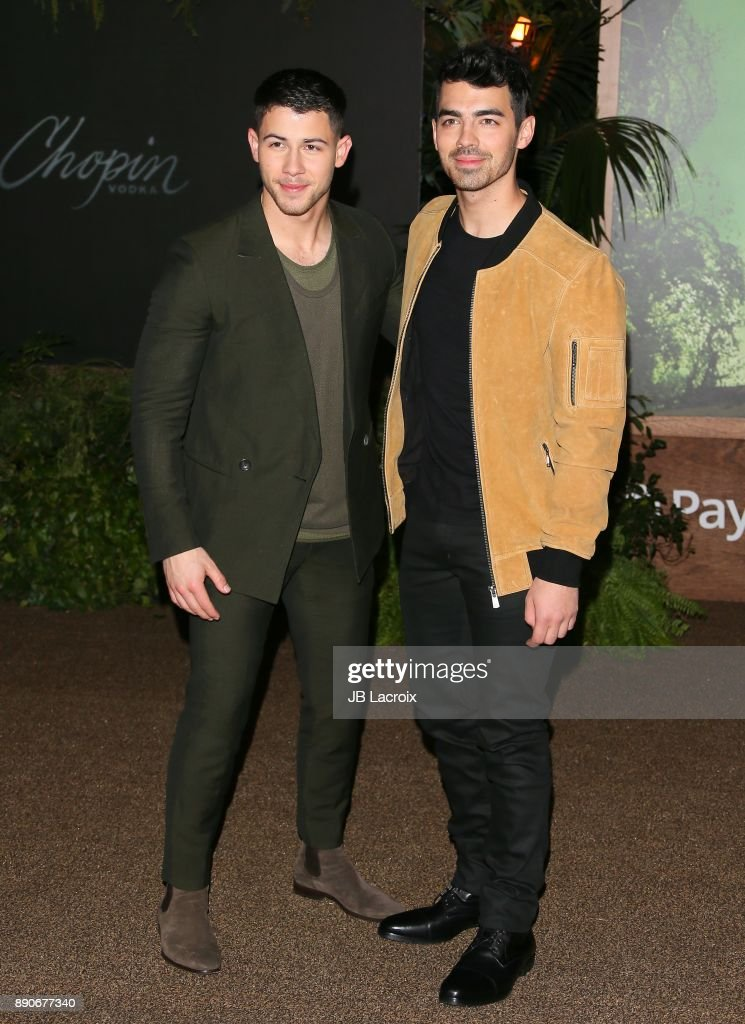 Nick Jonas and Joe Jonas attend the premiere of Columbia Pictures' 'Jumanji: Welcome To The Jungle' on December 11, 2017 in Los Angeles, California.