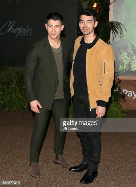 Nick Jonas and Joe Jonas attend the premiere of Columbia Pictures' 'Jumanji Welcome To The Jungle' on December 11 2017 in Los Angeles California