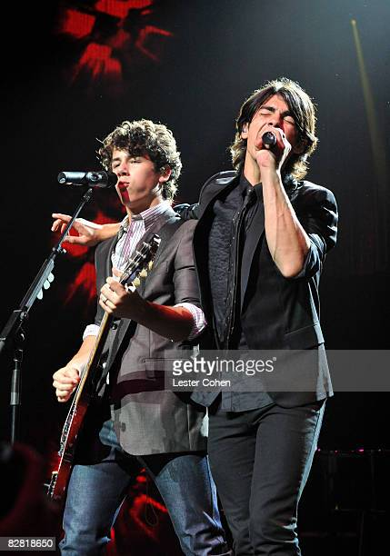 UNIVERSAL CITY CA SEPTEMBER 14 Nick Jonas and Joe Jonas perform at the City of Hope Benefit Concert with Miley Cyrus Jonas Brothers at the Gibson...