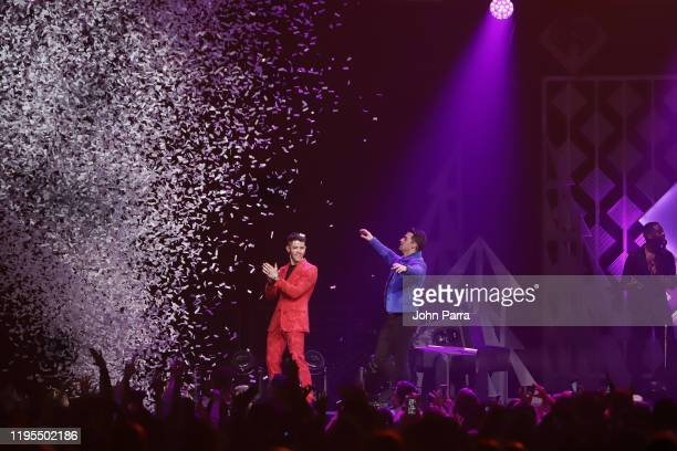 Nick Jonas and Joe Jonas perform on stage during Y100's Jingle Ball 2019 Presented by Capital One at BB&T Center on December 22, 2019 in Sunrise,...