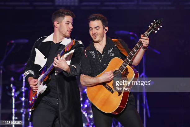 Nick Jonas and Kevin Jonas perform onstage at 2019 iHeartRadio Wango Tango presented by The JUVÉDERM® Collection of Dermal Fillers at Dignity Health...