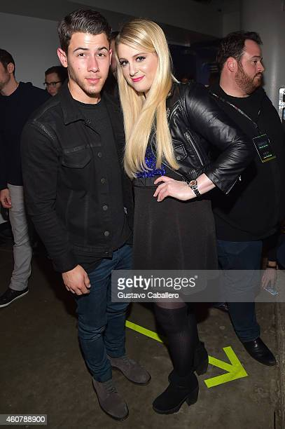 Nick Jonas and Meghan Trainor attend 93.3 FLZ's Jingle Ball 2014 at Amalie Arena on December 22, 2014 in Tampa, Florida.
