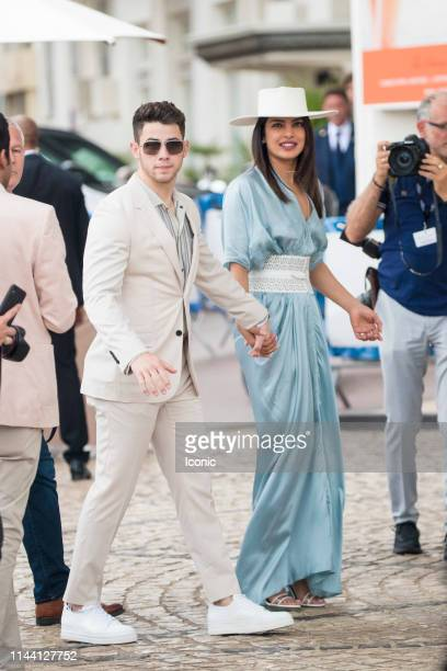 Nick Jonas and Priyanka Chopra are seen during the 72nd annual Cannes Film Festival on May 17 2019 in Cannes France
