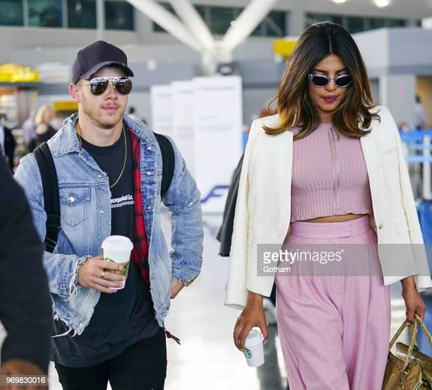Nick Jonas and Priyanka Chopra at JFK airport on June 8 2018 in New York City