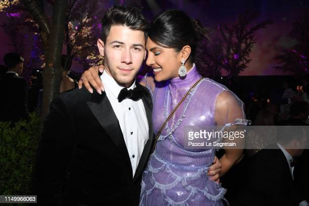 Nick Jonas and Priyanka Chopra attend the Chopard Love Night dinner on May 17, 2019 in Cannes, France.