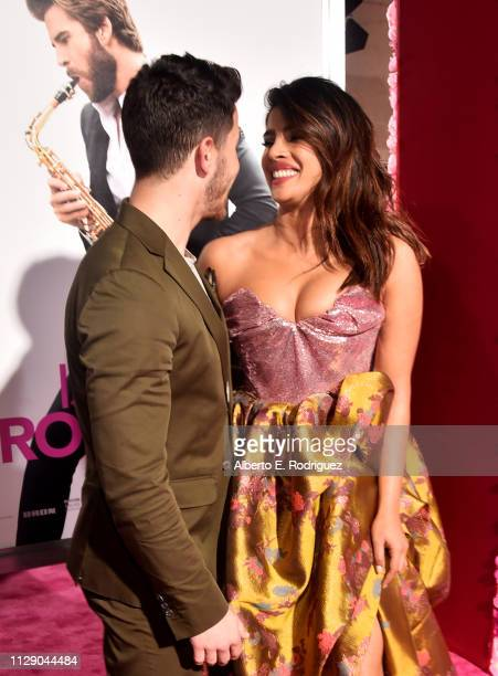 "Nick Jonas and Priyanka Chopra attend the premiere of Warner Bros. Pictures' ""Isn't It Romantic"" at The Theatre at Ace Hotel on February 11, 2019 in..."