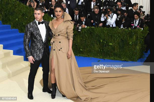 Nick Jonas and Priyanka Chopra attend the Rei Kawakubo/Comme des Garcons Art Of The InBetween Costume Institute Gala at Metropolitan Museum of Art on...