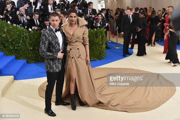 Nick Jonas and Priyanka Chopra attend the Rei Kawakubo/Comme des Garcons Art Of The InBetween Costume Institute Gala at Metropolitan Museum of Art on...