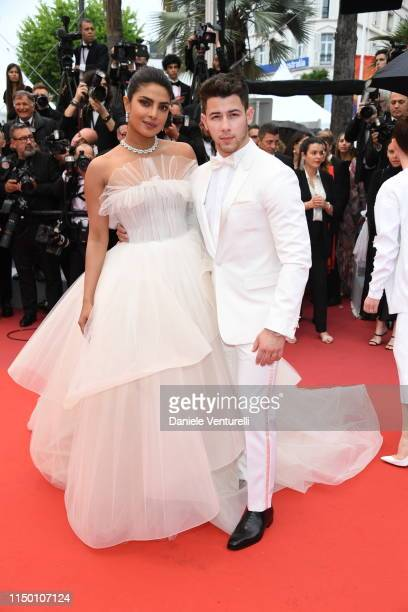 Nick Jonas and Priyanka Chopra attends the screening of Les Plus Belles Annees D'Une Vie during the 72nd annual Cannes Film Festival on May 18 2019...