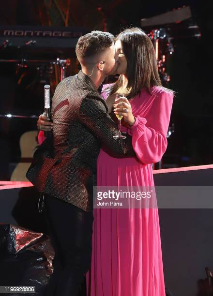 Nick Jonas and Priyanka Chopra ring in 2020 live on stage At The Iconic Fontainebleau Miami Beach at Fontainebleau Hotel on January 01 2020 in Miami...