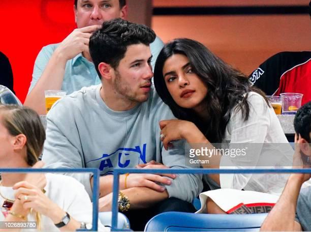 Nick Jonas and Priyanka Chopra seen at the 2018 US Open on September 4 2018 in New York City