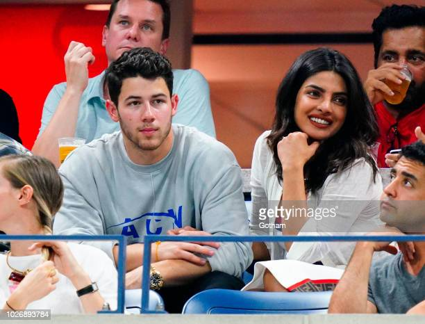 Nick Jonas and Priyanka Chopra seen at the 2018 US Open on September 4 2018 in New York City