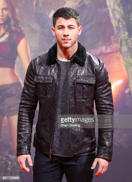 Nick Jonas arrives at the German premiere of 'Jumanji Willkommen im Dschungel' at Sony Centre on December 6 2017 in Berlin Germany