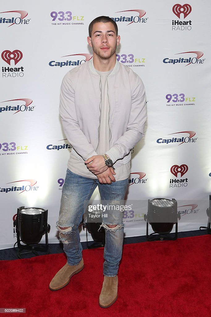 Nick Jonas attends 93.3 FLZ's 2015 Jingle Ball at Amalie Arena on December 19, 2015 in Tampa, Florida.
