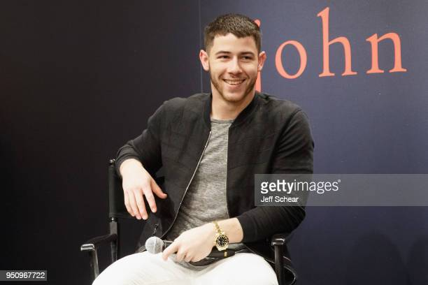 Nick Jonas attends John Varvatos x Nick Jonas in conversation celebrating exclusive collection at Nordstrom on April 24 2018 in Chicago Illinois