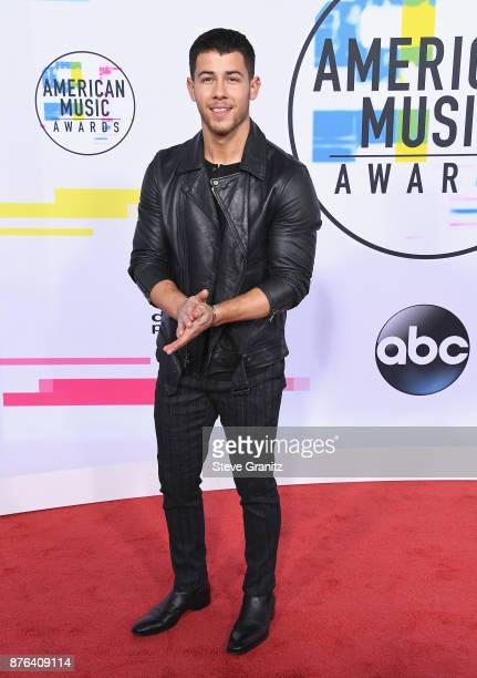 Nick Jonas attends the 2017 American Music Awards at Microsoft Theater on November 19 2017 in Los Angeles California
