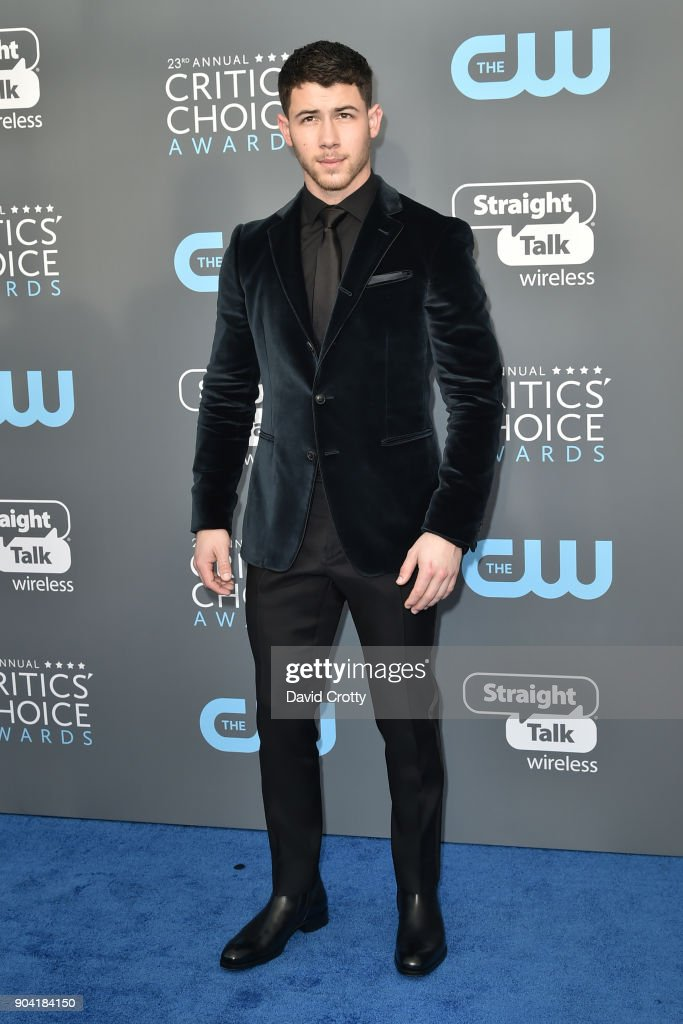 Nick Jonas attends The 23rd Annual Critics' Choice Awards - Arrivals at The Barker Hanger on January 11, 2018 in Santa Monica, California.