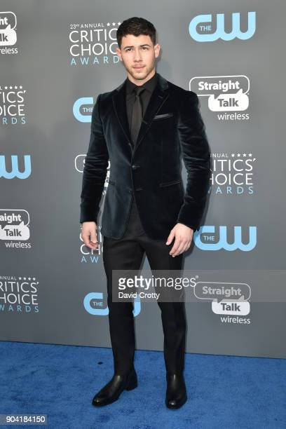 Nick Jonas attends The 23rd Annual Critics' Choice Awards Arrivals at The Barker Hanger on January 11 2018 in Santa Monica California