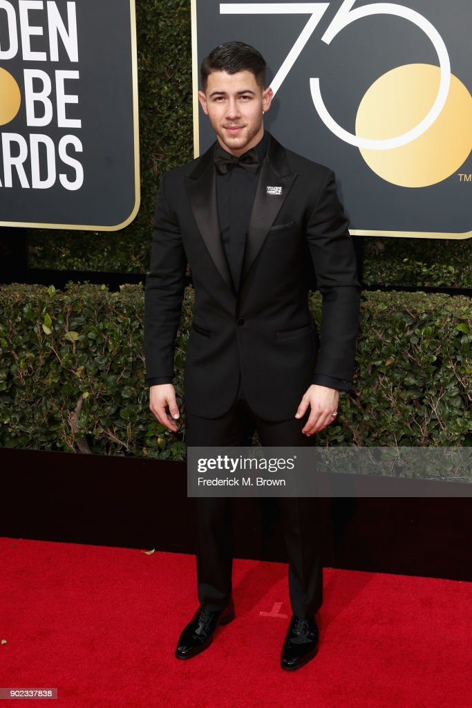 Nick Jonas attends The 75th Annual Golden Globe Awards at The Beverly Hilton Hotel on January 7, 2018 in Beverly Hills, California.