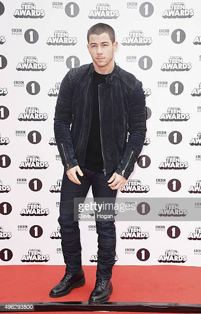 Nick Jonas attends the BBC Radio 1 Teen Awards at Wembley Arena on November 8 2015 in London England