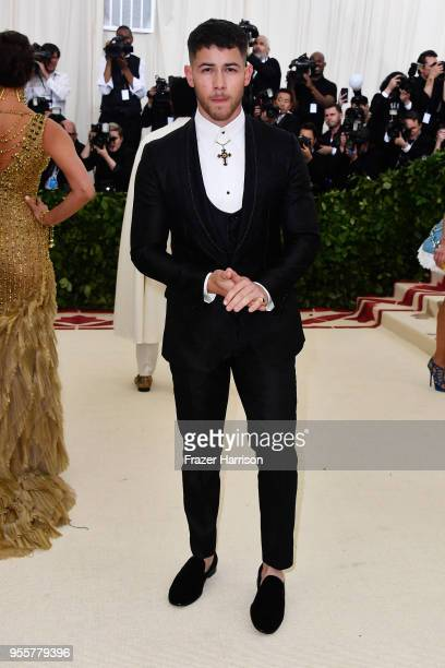Nick Jonas attends the Heavenly Bodies Fashion The Catholic Imagination Costume Institute Gala at The Metropolitan Museum of Art on May 7 2018 in New...