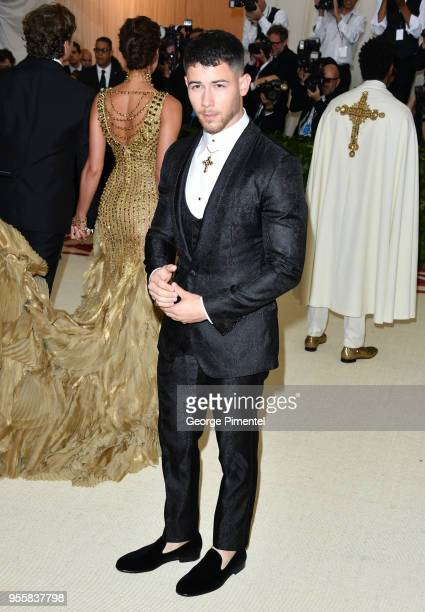 Nick Jonas attends the Heavenly Bodies Fashion The Catholic Imagination Costume Institute Gala at Metropolitan Museum of Art on May 7 2018 in New...